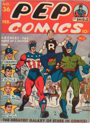 Pep Comics #36: First full figure Archie on cover. Click for values