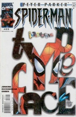 Origin and First Appearance, Typeface, Peter Parker: Spider-Man (vol. 2) #23, Marvel Comics, 2000. Click for value