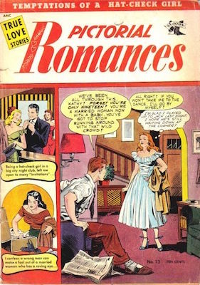 Pictorial Romances #13: Matt Baker cover art. Click for values