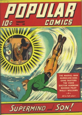 Popular Comics #60: Origin and First Appearance, Professor Supermind and Son. Click for values