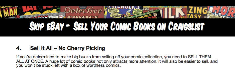How to Sell Comics on Craigslist eBook