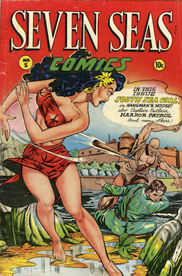 Seven Seas #5: Classic Matt Baker comic cover. Click for values