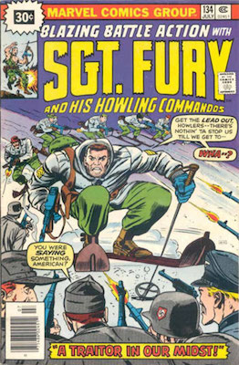 Sergeant Fury #134 30c Price Variant July, 1976. Price in Starburst