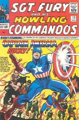Sgt Fury and his Howling Commandos #13 features an early Silver Age Captain America. Click for values