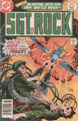 Sgt. Rock retains the numbering of its predecessor, Our Army at War, beginning at Sgt. Rock #302 (pictured) in 1977. Click for values