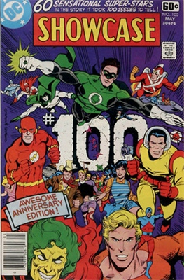 DC Comics Showcase #100 features most of the characters who appeared in the series. Click for values