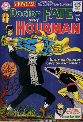 Showcase #55: first Silver Age appearance of the Golden Age Green Lantern and Solomon Grundy. Origins of Dr. Fate and Hourman. Click for values