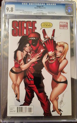 If you can find one -- and you can afford it! -- a CGC 9.8 copy of Siege #3 Deadpool variant is the way to go. Click to buy