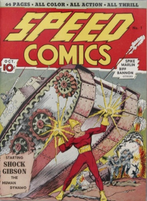 Speed Comics #1: Origin and First Appearance, Shock Gibson. Click for values