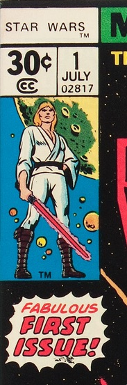 Close up detail of Star Wars 1977 #1 Regular Newsstand 30c Edition
