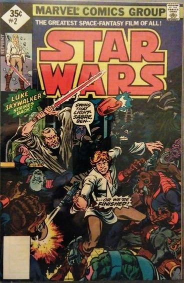Star Wars #2 reprint 35c edition. Price at top left, 35c in a DIAMOND (not a square). Blank box instead of bar code at bottom left.