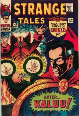 Strange Tales #148, cool full  Dr. Strange cover and origin of the Ancient One. Click to research on eBay