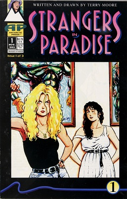Strangers in Paradise #1 (1993) Rare; 1st Comic by Terry Moore. Click for values