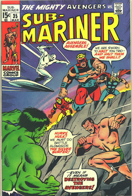 Sub-Mariner #35 (Marvel, 1971): Second Thor vs Hulk Battle; Early Defenders. Click for values