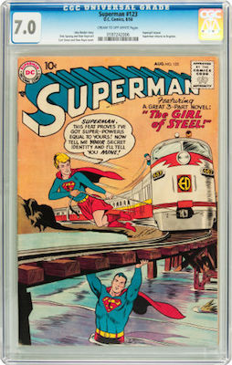 Superman #123 is scarce to rare in higher grade. There is a big jump in price above CGC 7.0, so we recommend that grade. Click to buy a copy