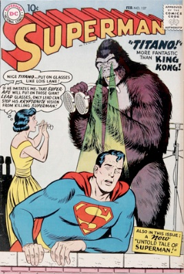 Origin and First Appearance, Titano, Superman #127, DC Comics, 1959. Click for value