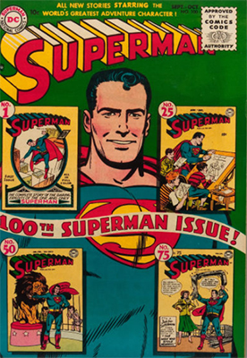 Superman comic #100: Cover features #1 and other classic issues. Click for values