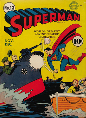 Superman #13: classic WWII cover. Click for values