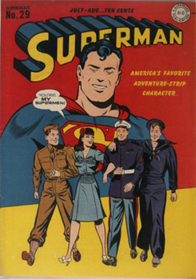 Superman #29: WWII servicemen cover. Click for values