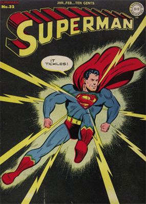 Superman comic books #32: classic cover, dark background, scarce in high grade. Click for values