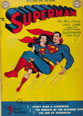 Superman comic books #57: Lois Lane as Superwoman cover, full page ad for Superboy #1. Click for values