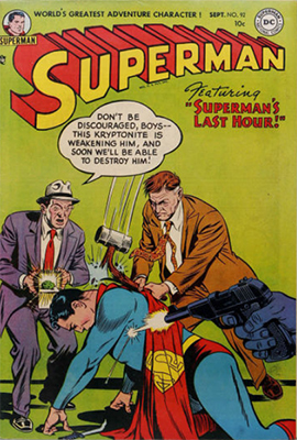 Superman #92 has a full page ad for Jimmy Olsen #1 inside. Click for values