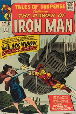 Tales of Suspense #53 (May 1964): The Widow Bites Tony Stark Again. Click for values