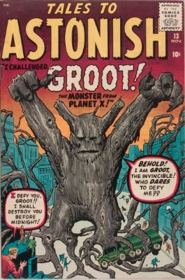 A quite scarce pre-superhero comic, Tales to Astonish #13, which saw the first appearance of Groot. Click for value
