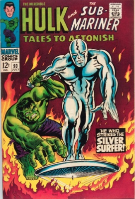 Tales to Astonish #93, July, 1967: The Surfer Battles the Hulk. Click for values