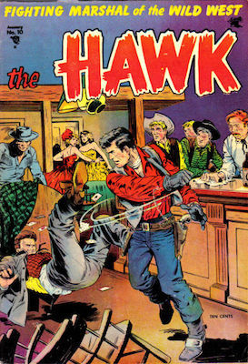 The Hawk comic #10. Classic western saloon bar fight cover by Baker. Click for values