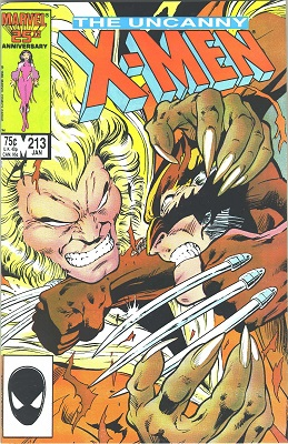 Uncanny X-Men #213: Wolverine vs Sabertooth part two. Click for values