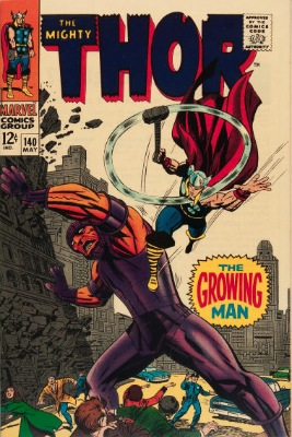 Origin and First Appearance, Growing Man, Thor #140, Marvel Comics, 1967. Click for value