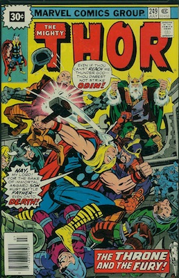 Thor #249 Marvel 30 Cent Price Variant July, 1976. Starburst Flash