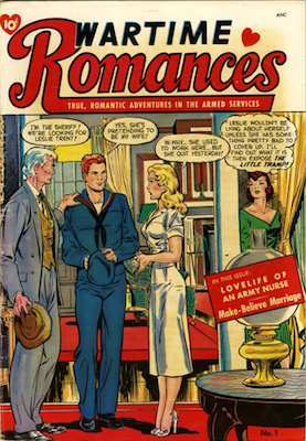 Matt Baker cover art on Wartime Romances #1. Click for values