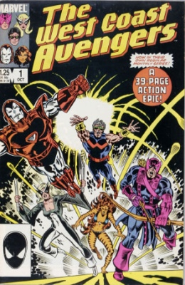 First Appearance, West Coast Avengers, West Coast Avengers #1, Marvel Comics, 1984. Click for values
