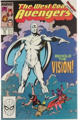 West Coast Avengers #45: First Appearance of White Vision. Click for values.