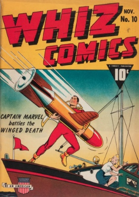 Whiz Comics #10: classic Captain Marvel war cover. Click for values