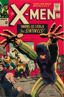 The Sentinels (First Appearance: X-Men #14, November, 1965). Click for value