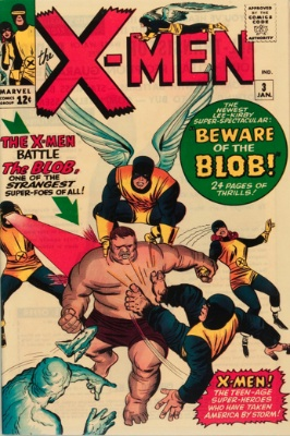 Origin and First Appearance, Blob, X-Men #3, Marvel Comics, 1964. Click for value