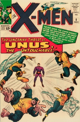 Origin and First Appearance, Unus the Untouchable, X-Men #8, Marvel Comics, 1964. Click for value