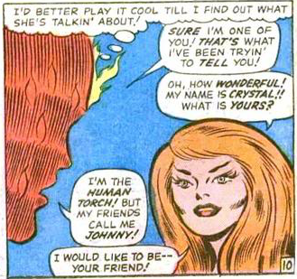 The Human Torch meets Crystal from the Inhumans for the first time in Fantastic Four #45
