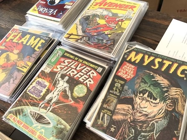 Close-up of some of the key books in the 56-box comic book collection