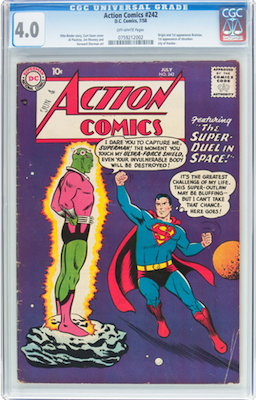 It's not easy to find Action Comics #242 in any condition. A decent VG copy still feels under-valued to us. Click to buy a copy