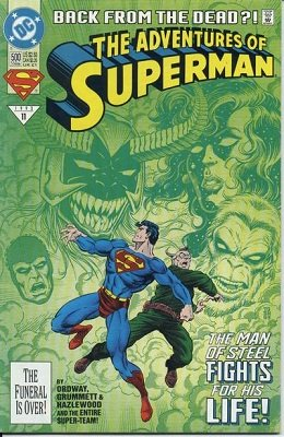 Adventures of Superman #500 (1993) Platinum Poly-Bag Edition. Click for value
