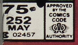 Canadian price box on Amazing Spider-Man252 with new price of 75c