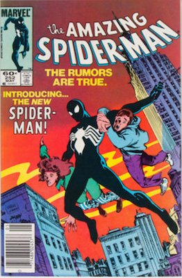 US newsstand variant of Amazing Spider-Man 252 with UPC bar code at bottom left AND US price