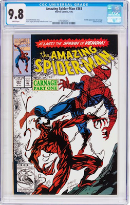 Don't go below a CGC 9.6, but our recommendation is a CGC 9.8 of Amazing Spider-Man#361 (First Carnage). Click to find yours