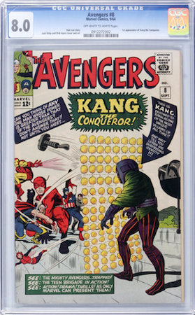 Hot Comics #61: Avengers 8, 1st Kang the Conqueror. Look for CGC 8.0. Click to order a copy