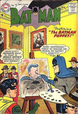 Batman is forced to paint his alter ego's features onto a canvas... Click for value of Batman #106