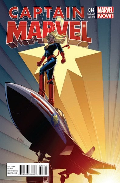 100 Hot Comics #44: Captain Marvel 14, 1st Cameo of Kamala Khan. Click to buy a copy